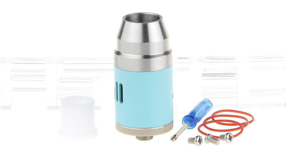 Bullet Styled RDA Rebuildable Dripping Atomizer 22mm, SS, Silver (sky blue chamber)