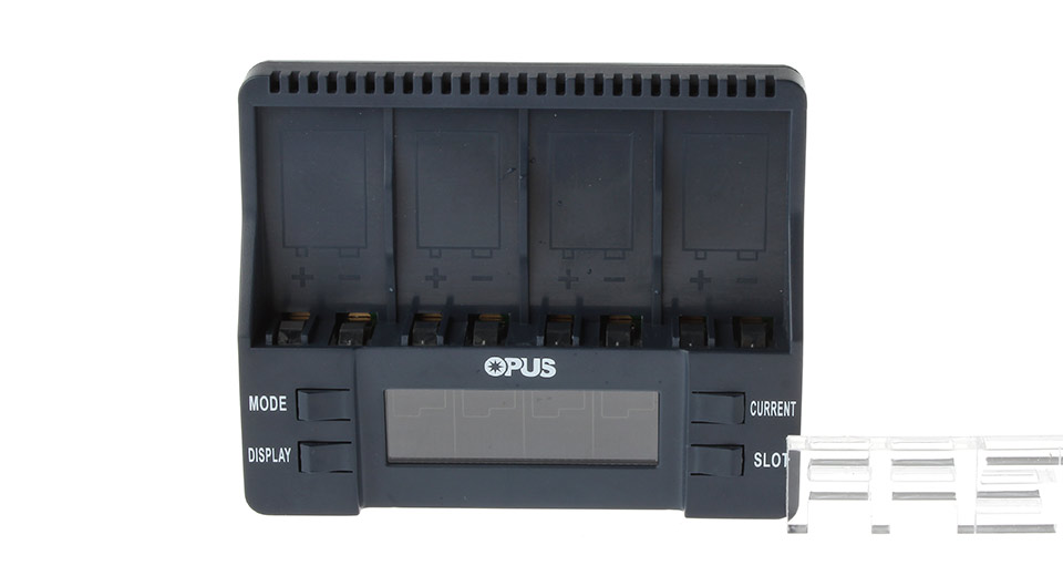 Authentic OPUS BT-C900 2.36 inch LCD 4-Slot Battery Charger 9V Li-Ion/Ni-MH BT-C900, US Plug, Black