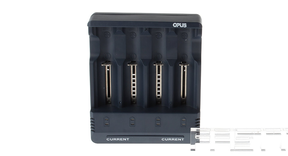 Authentic OPUS BT-C1000 4-Slot Ni-MH Ni-CD Li-Ion Battery Charger BT-C1000, 4-Slot, UK Plug, Black