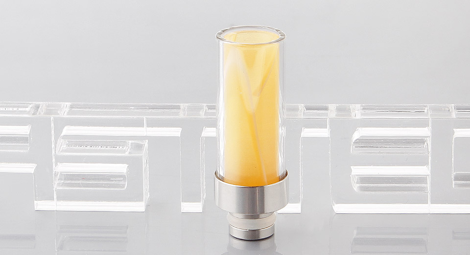 Glass + Acrylic + Stainless Steel Hybrid Long 510 Drip Tip 38mm, Yellow