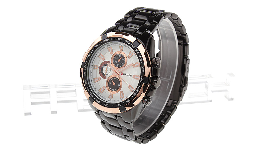 CURREN 8023 Men's Tungsten Steel Band Analog Quartz Wrist Watch