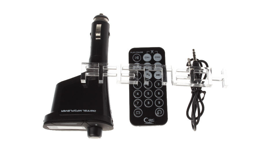 "618 0.9"" LCD MP3 Player + Hands-free Car Kit FM Transmitter w/ Cigarette Lighter"