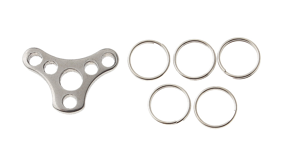 Outdoor Stainless Steel EDC Extension Keychain w/ 5*Split Rings