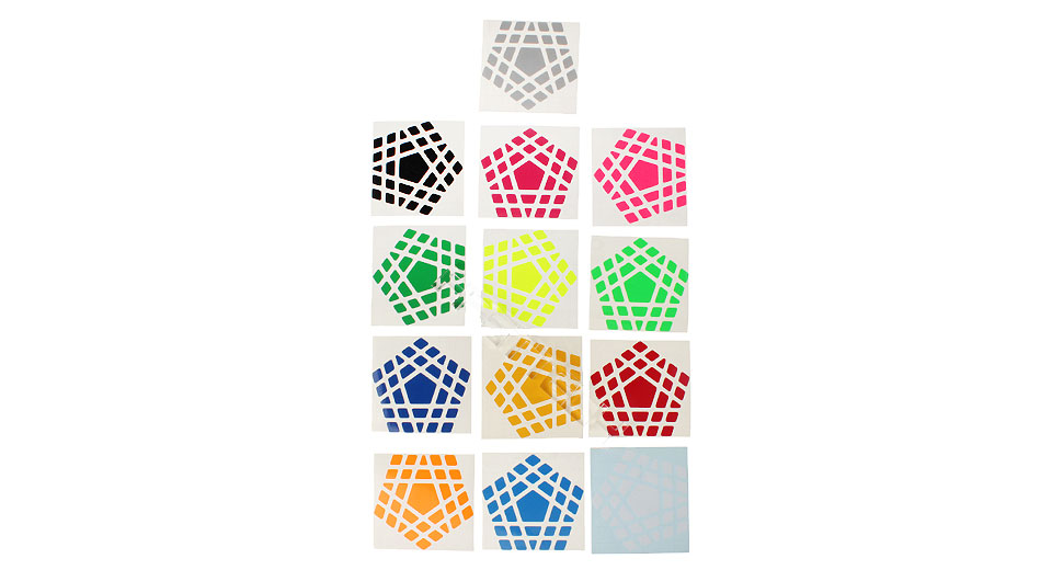 ZS8G80 Z-Stickers for Dodecahedron Megaminx Puzzle Speed Cubes (13 Pieces)