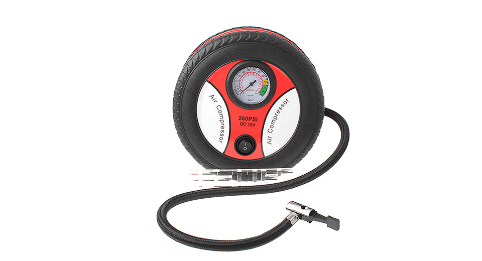 Tire Styled Portable Car Air Pump w/ Pressure Gauge