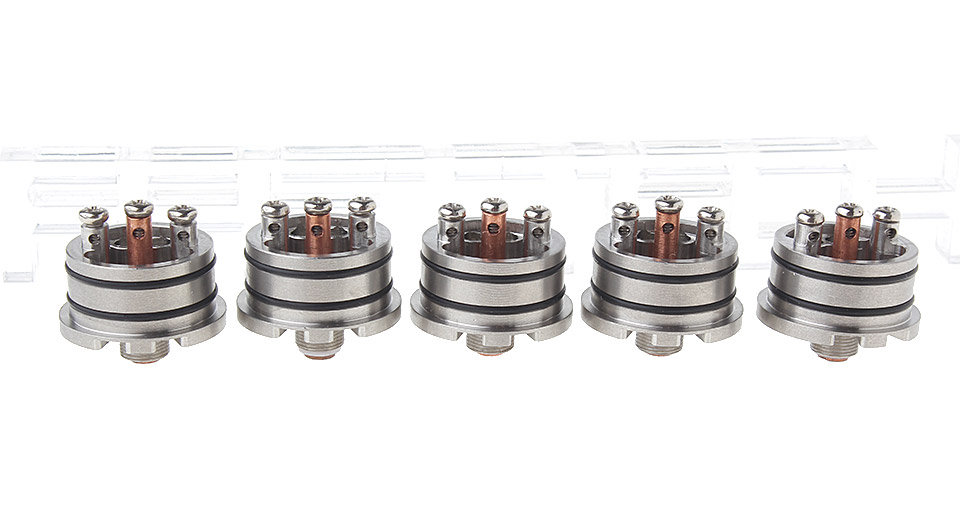 Replacement Base Fishbone RDA Atomizer (5-Pack) Base, 23mm, SS, Silver, 5-Pack