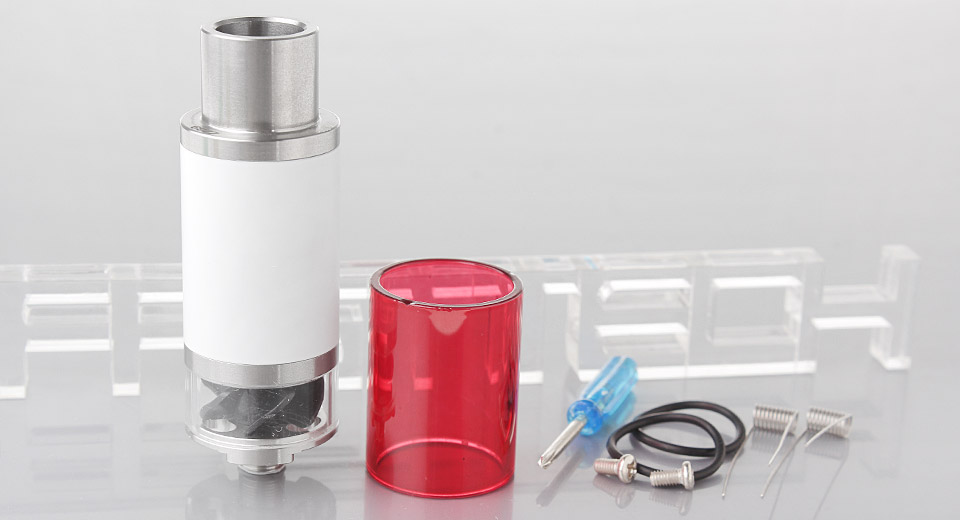 571 Styled RDA Rebuildable Dripping Atomizer 22mm, SS + Glass, White (w/ red glass tank)