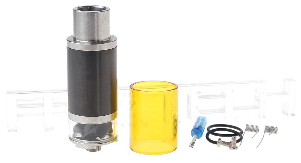 571 Styled RDA Rebuildable Dripping Atomizer 22mm, SS + Glass, Black (w/ yellow glass tank)