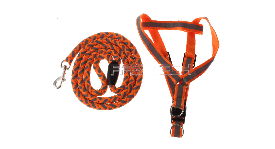 Adjustable Pet Dog Nylon Reflective Harness Belt Strap (Size L) Size L, Orange