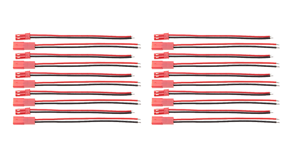 Image of 10cm DIY JST Male Female Connector Cable for R/C Models (10-Pair)