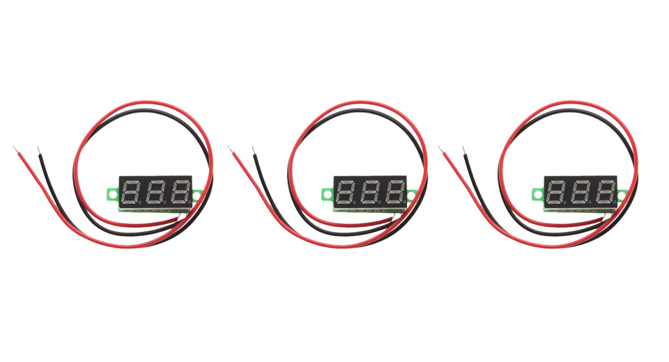 "Image of 0.28"" 3-Digit LED Voltmeter Module (3-Pack)"