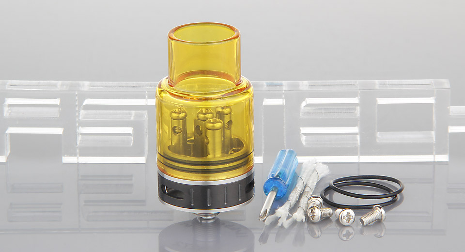 Fishbone Xs Styled RDA Rebuildable Dripping Atomizer Xs, 23mm, SS + Glass, Yellow (black AFC, 45mm)