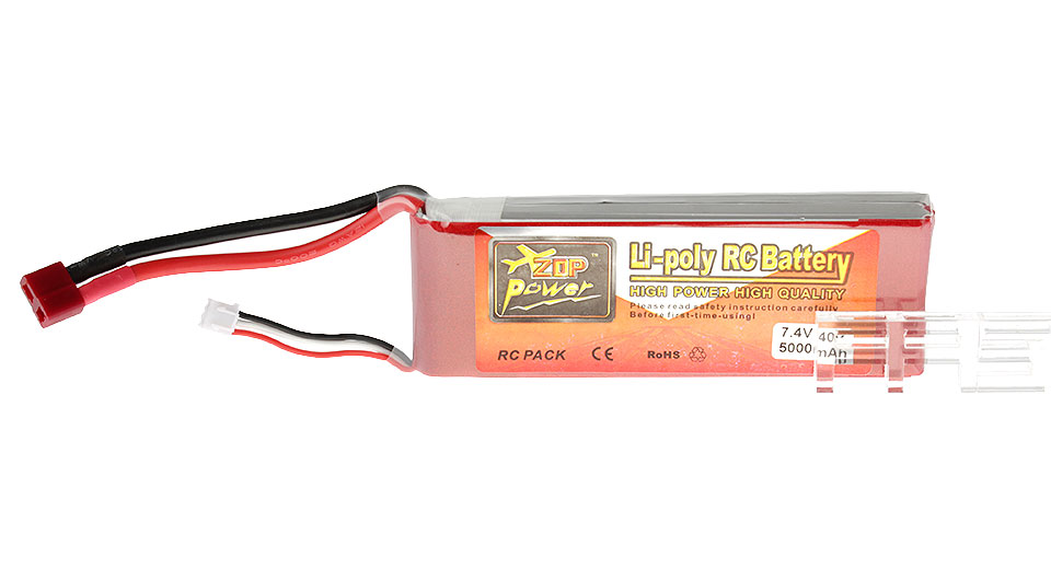 Authentic ZOP Power 7.4V 5000mAh 40C Li-Polymer Battery