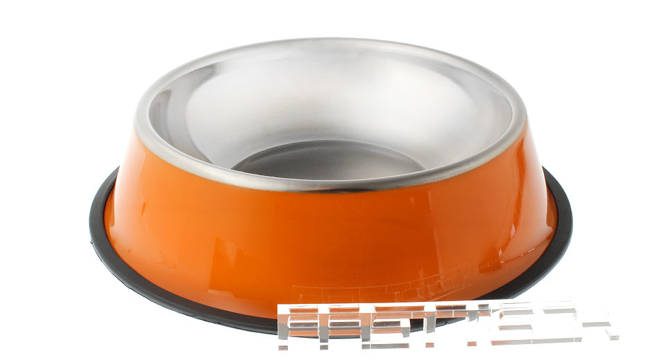 Stainless Steel No-Tip Non-Slip Pet Bowl 25.5m, Orange