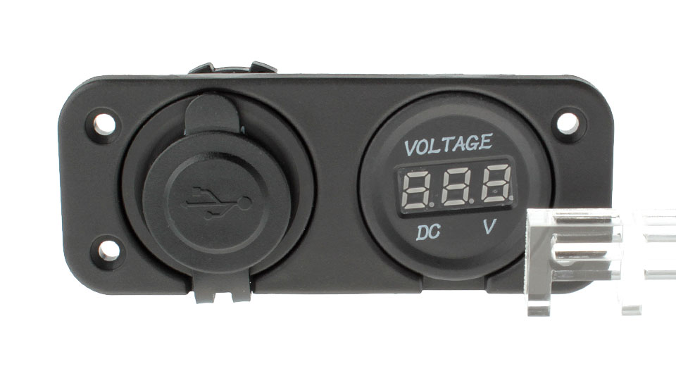 3.1A Dual USB Charger + Voltmeter Panel Set