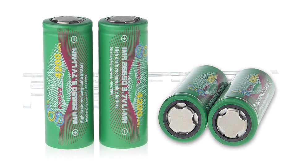 Gpower IMR 26650 3.7V 4200mAh Rechargeable Li-Mn Batteries (4-Pack)
