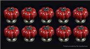 Buy Pumpkin Styled Cupboard / Drawer Ceramic Handle Knob (10-Pack) Styled, Red, 10-Pack