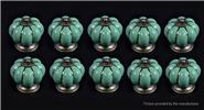 Buy Pumpkin Styled Cupboard / Drawer Ceramic Handle Knob (10-Pack) Styled, Green, 10-Pack