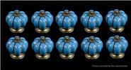 Buy Pumpkin Styled Cupboard / Drawer Ceramic Handle Knob (10-Pack) Styled, Blue, 10-Pack