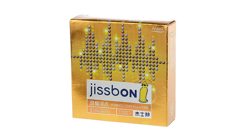 Jissbon Intimate Dots Pleasure Natural Latex Condom (Size M/3-Pack)