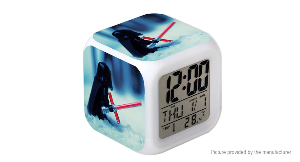 star wars cube digital alarm clock led night light. Black Bedroom Furniture Sets. Home Design Ideas