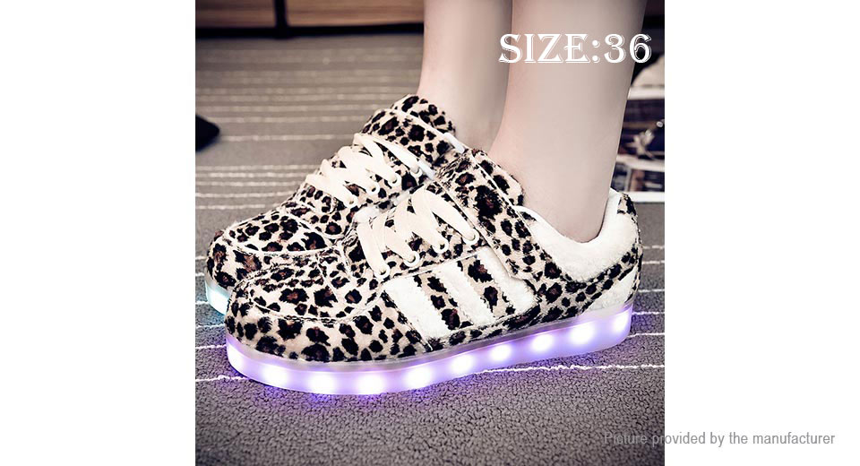Wind Breaker Leopard Pattern LED Light Lace Up Sports Couple Shoes (Size 36/Pair)