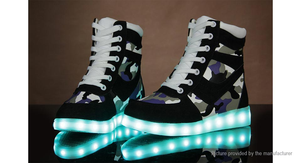 Wind Breaker Unisex LED Light Lace Up High Top Sports Shoes Sneakers (Size 37/Pair)