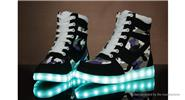 Buy Wind Breaker Unisex LED Light Lace High Top Sports Shoes Sneakers (Size 36/Pair) Size 36, Black