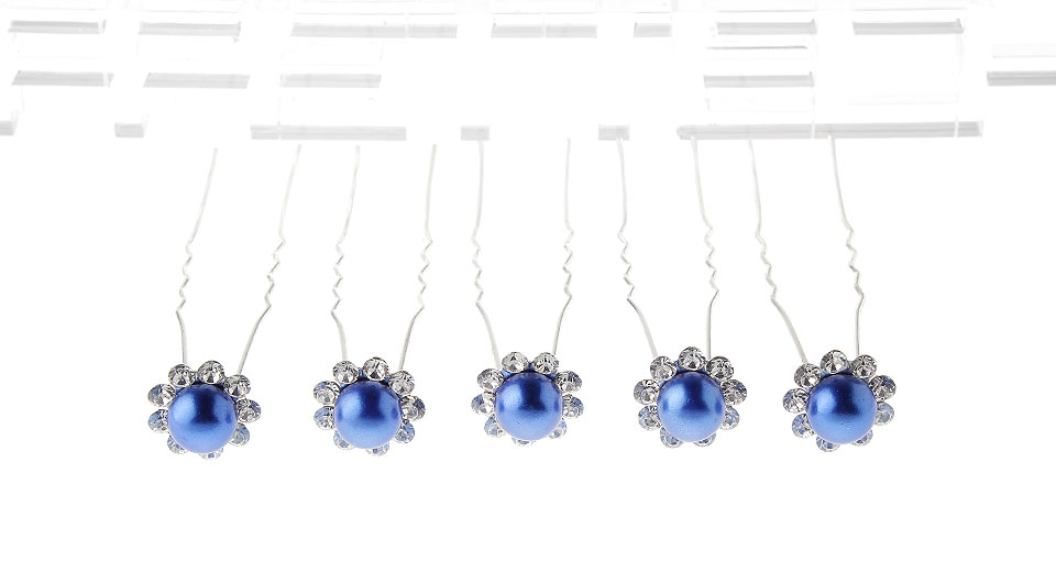 Image of Crystal Pearl Hairpin Hair Clasp (5-Pack)