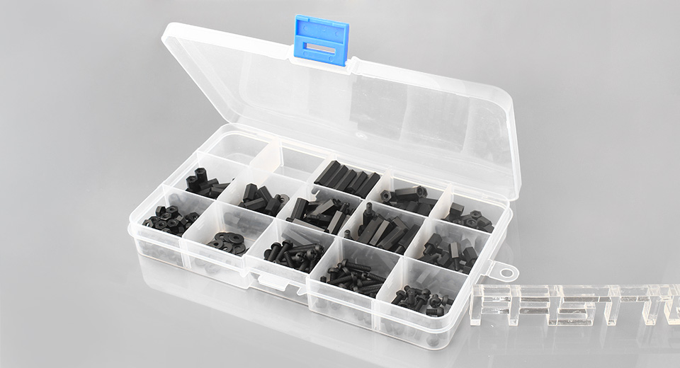 M3 Nylon Hex Standoff Spacer Screw Nut Assortment Kit (260 Pieces)