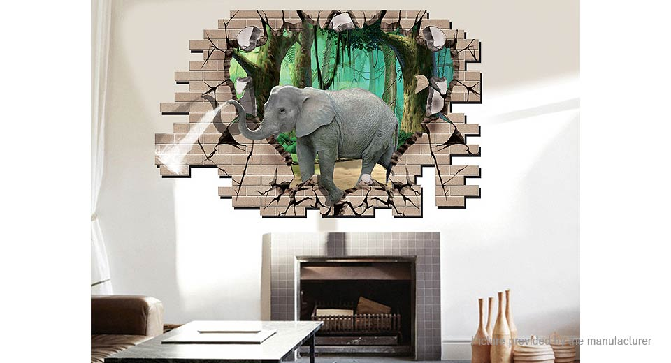 3D Elephant Styled Wall Decal / Sticker