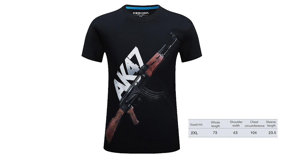 Image of AK47 Pattern Men's 3D Print Round Collar T-shirt (Size 2XL)