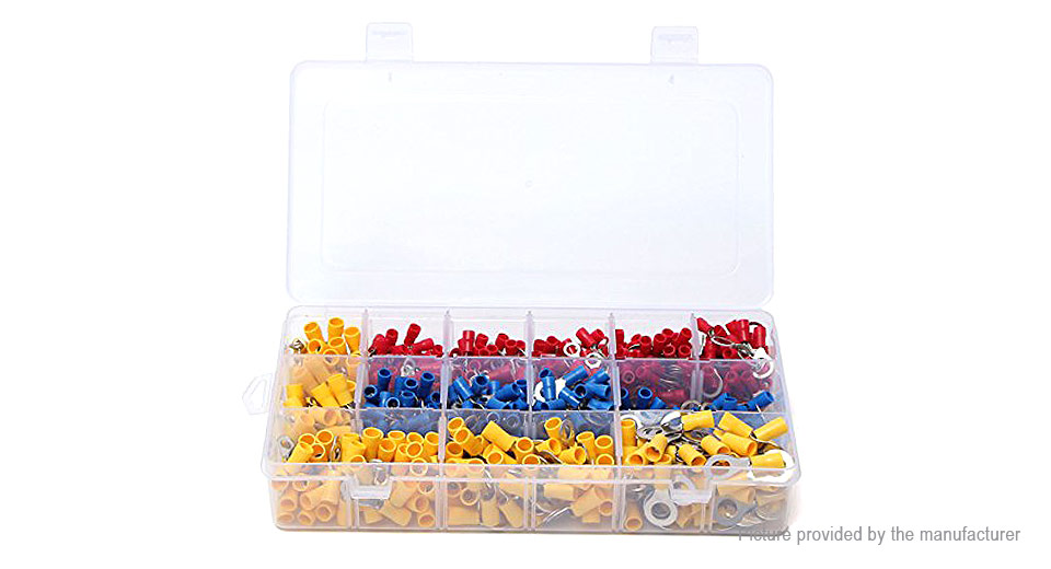 Insulated Ring Crimp Connector Terminal Set (650 Pieces)