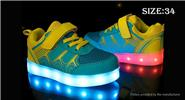 Buy Children Kids LED Light Sneakers Sports Shoes (Size 34/Yellow + Green) Size 34, Yellow Green