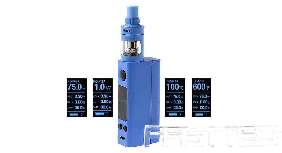 Authentic Joyetech eVic VTwo Mini 75W TC VW APV Box Mod Kit, eVic VTwo Mini 75W, w/ Cubis Pro Clearo, Blue