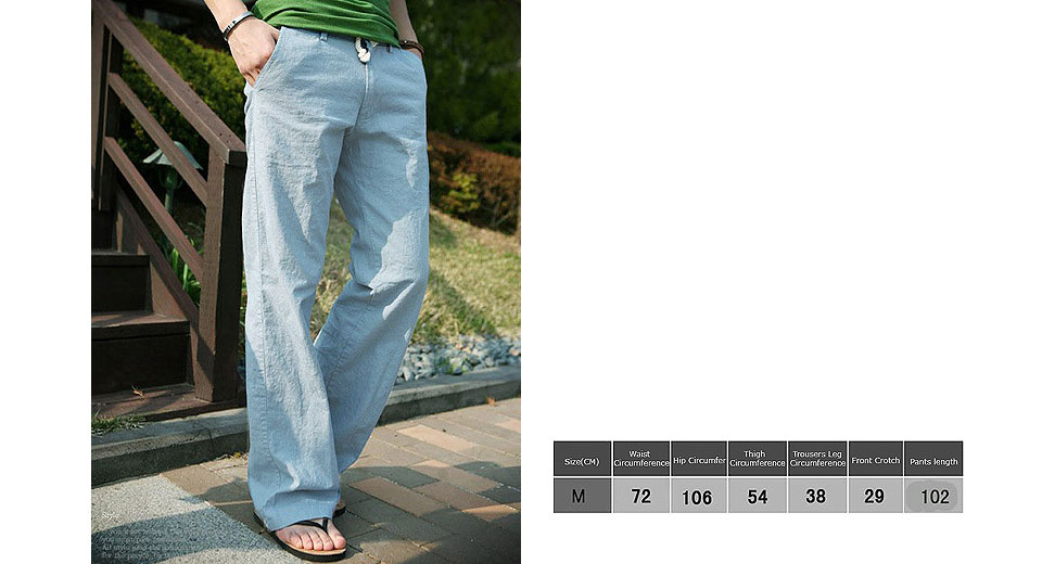 Image of Aowofs Men's Casual Loose Trousers Slacks Drawstring Linen Pants (Size M)