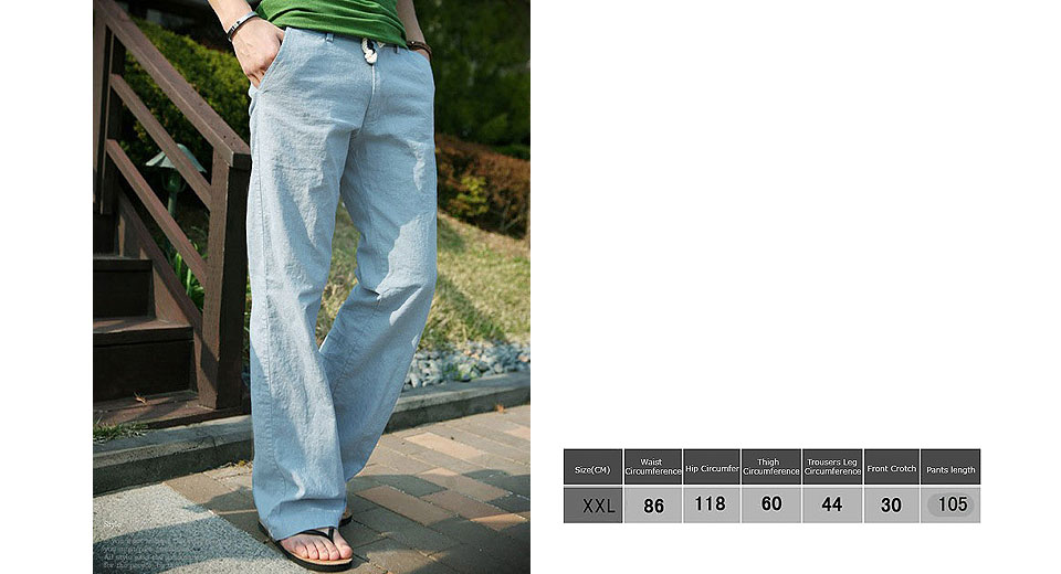Image of Aowofs Men's Casual Loose Trousers Slacks Drawstring Linen Pants (Size 2XL)