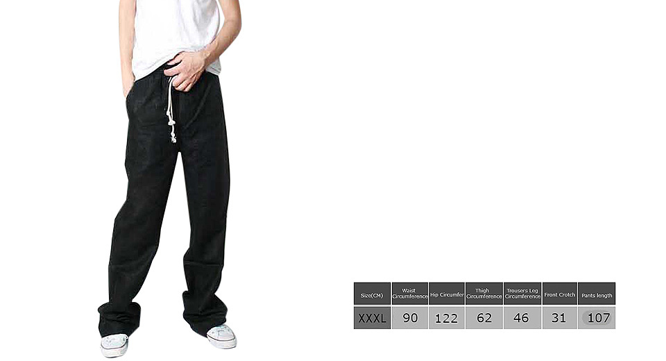 Image of Aowofs Men's Casual Loose Trousers Slacks Drawstring Linen Pants (Size 3XL)
