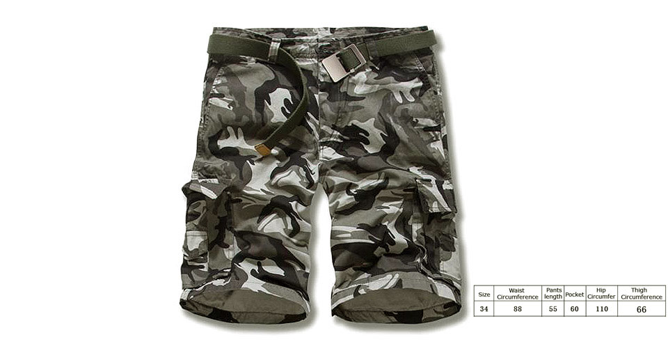 Image of Aowofs Men's Casual Multi Pocket Camouflage Cargo Shorts (Size 36)