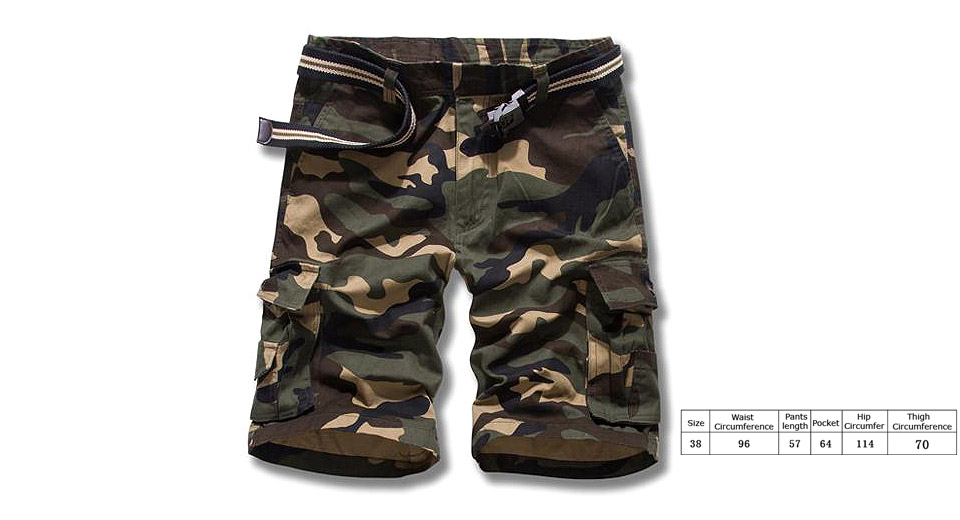 Image of Aowofs Men's Casual Multi Pocket Camouflage Cargo Shorts (Size 38)