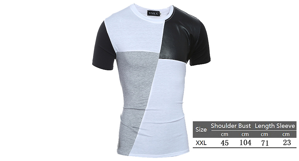 Aowofs Men's Round Collar Contrast Color T-shirt (Size 2XL)