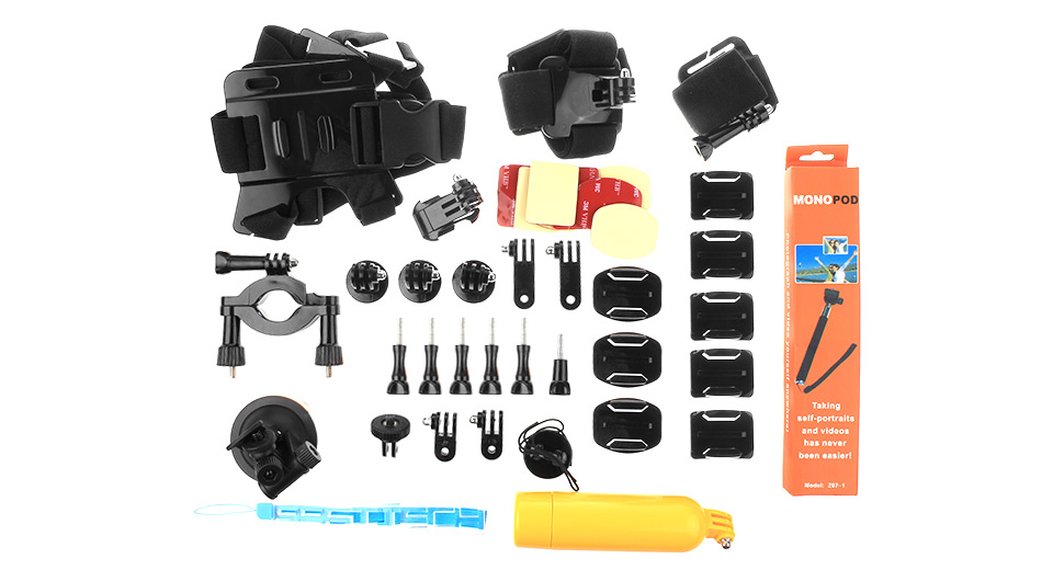 AT228 Camera Mount Accessories Set for GoPro / SJCAM (40-Piece Set)