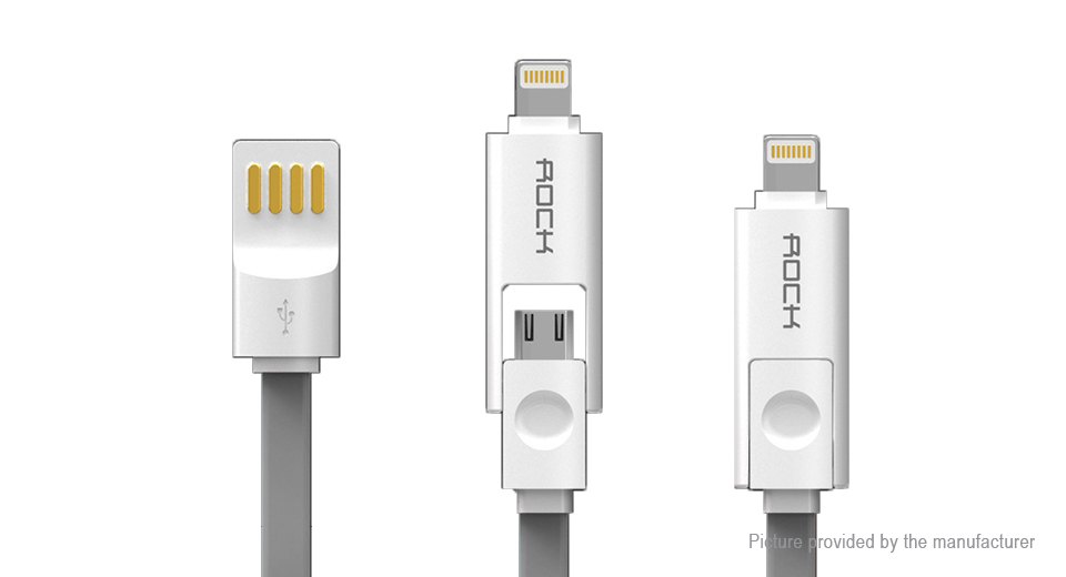 ROCK 8-pin/Micro-USB to USB 2.0 Data Sync/Charging Cable (200cm)