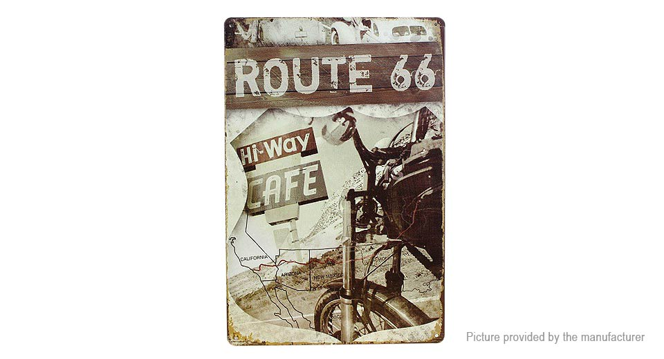 Route 66 Hi-way Cafe Motor Vintage Tin Sign Home Pub Wall Decor