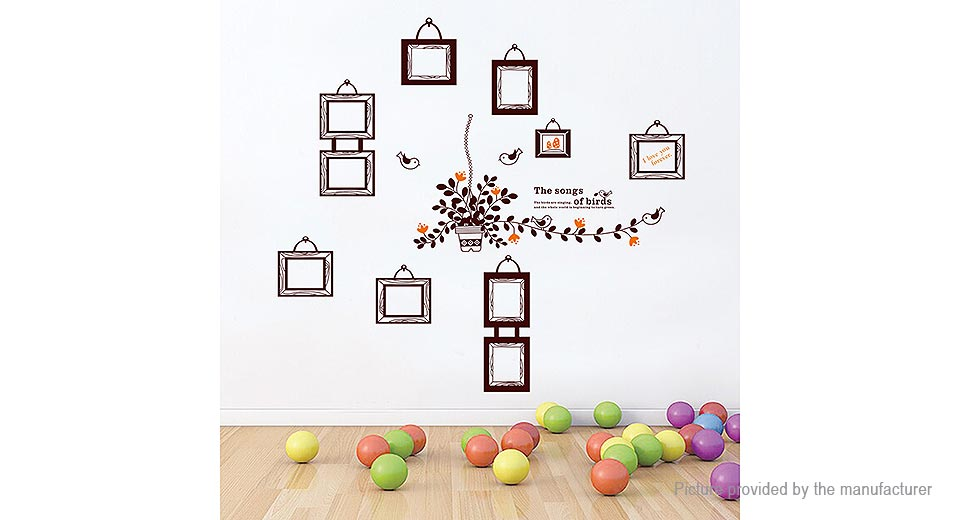 The Songs of Birds Photo Frame Styled Removable Wall Sticker Home Decor