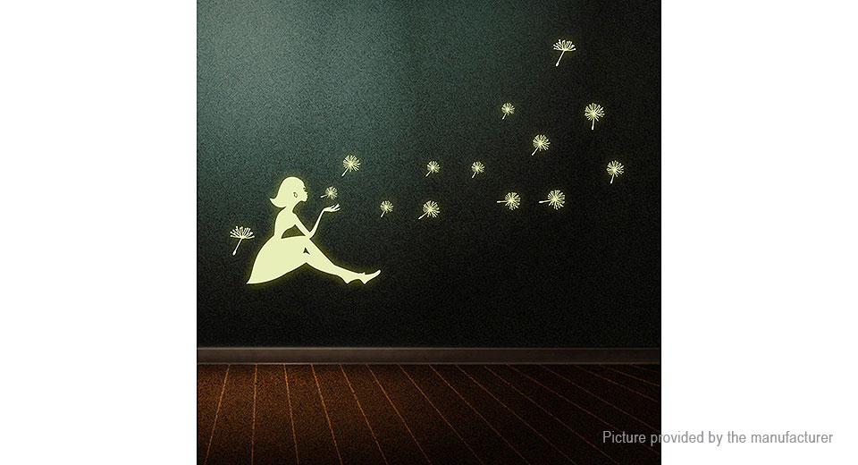 Luminous Dandelion Girl Styled Removable Wall Sticker Home Decor