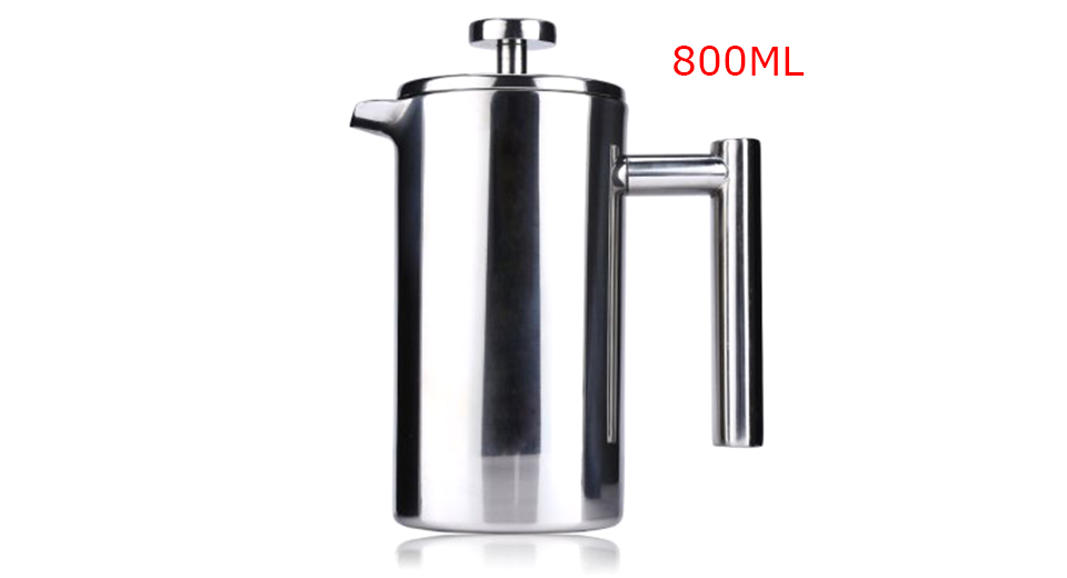 Double Layers Stainless Steel Insulated Coffee Tea Maker (800ml)
