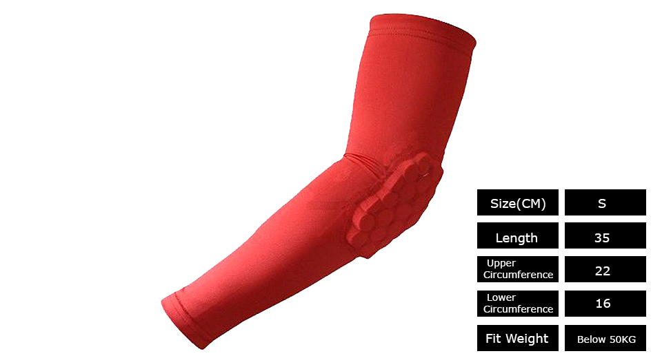 Sports Honeycomb Pad Arm Guard Elbow Support (Size S)