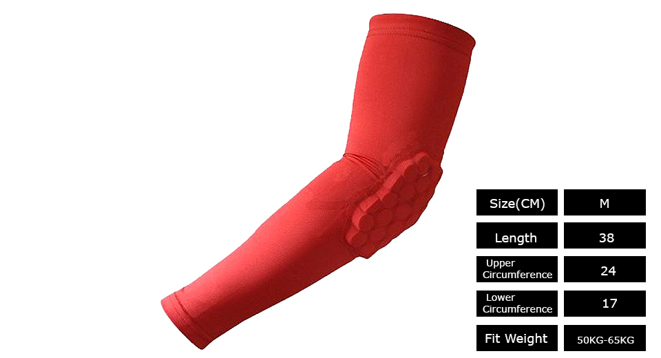Sports Honeycomb Pad Arm Guard Elbow Support (Size M)