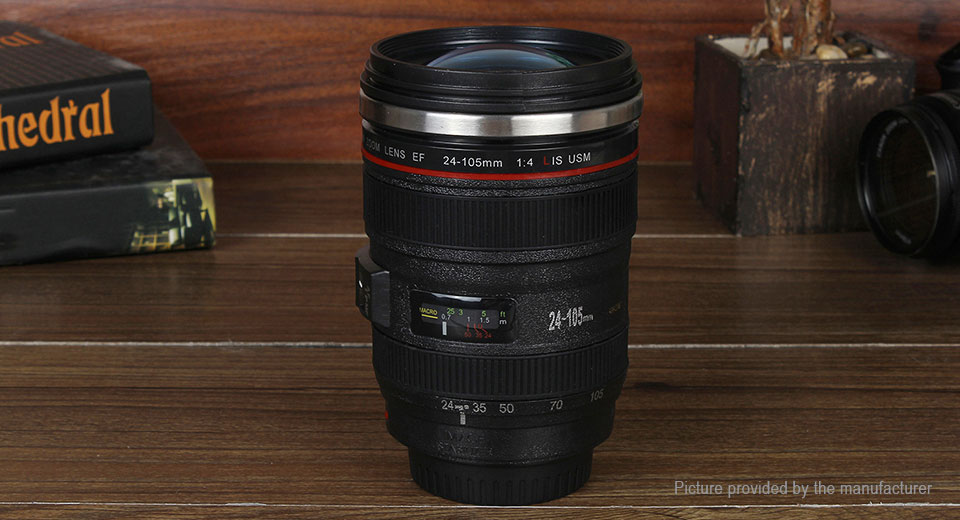 Unique Simulation Dummy Zoom Lens Thermos Mug Cup, 300ml, Canon 24-105mm Lens, 300ml
